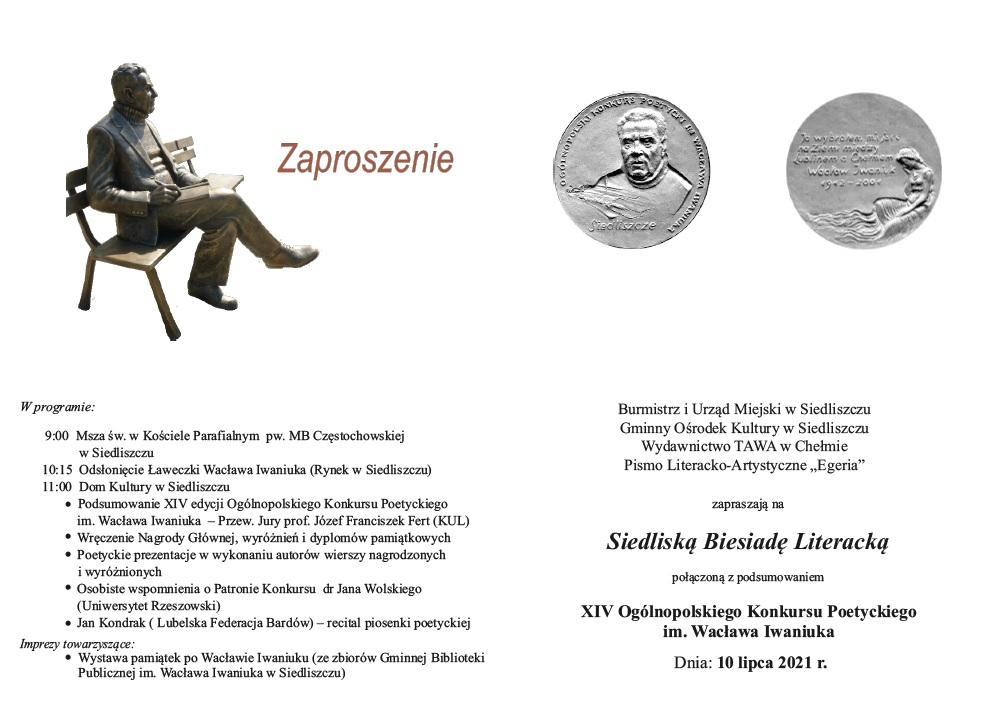 Zdjęcie przedstawia ławkę Wacław Iwaniuka oraz pamiątkowy medal